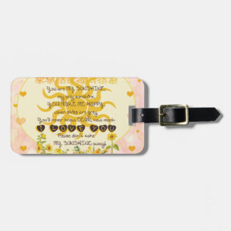 You are my sunshine heart design luggage tag