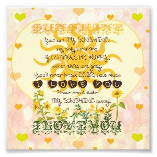 You are my sunshine heart design photo print