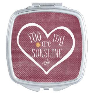 You are My Sunshine Heart Typography Vanity Mirror