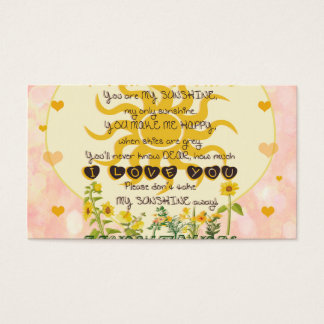 You Are My Sunshine Hearts Business Card