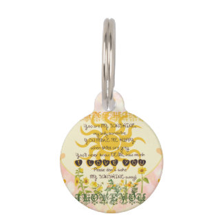 You Are My Sunshine Hearts Pet Name Tag