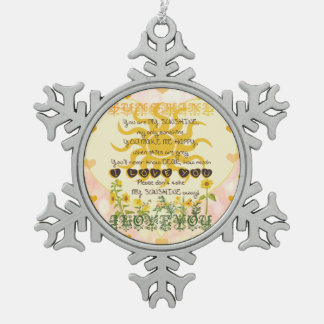 You Are My Sunshine Hearts Snowflake Pewter Christmas Ornament