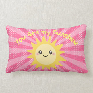You are my sunshine in hot pink lumbar pillow