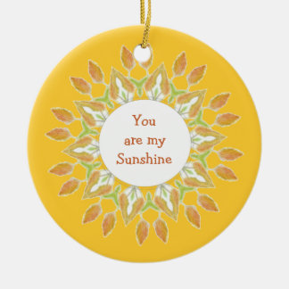 """""""You are My Sunshine!"""" Love Quote Watercolor Christmas Tree Ornaments"""