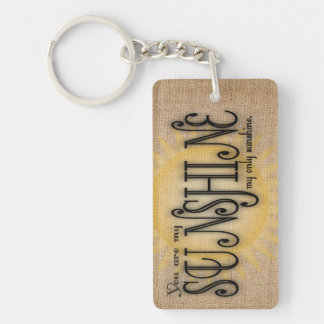 You Are My Sunshine on Burlap Keychain