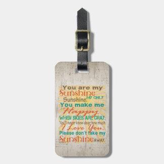 You are my Sunshine Orange/Teal/Cream Luggage Tags