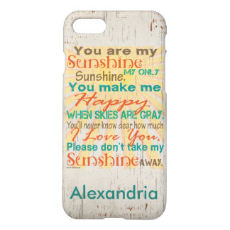 You are my Sunshine Orange/Teal/Cream Personalized iPhone 7 Case