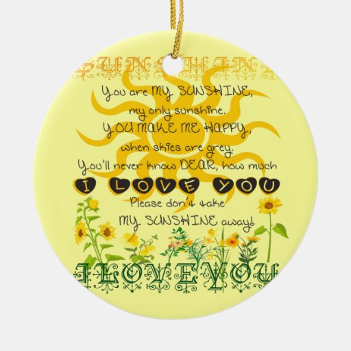 You are my sunshine... Double-Sided ceramic round ...
