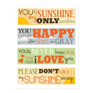 You Are My Sunshine Postcard
