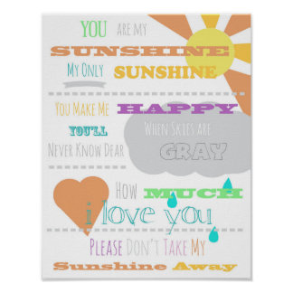 """You are My Sunshine Poster 11""""x14"""""""