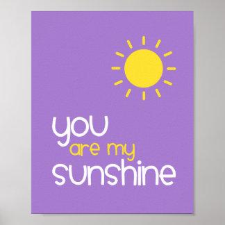 You Are My Sunshine Purple Nursery Art Decor Posters