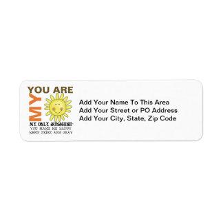 You Are My Sunshine Return Address Label