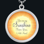 """You are my Sunshine Silver Plated Necklace<br><div class=""""desc"""">You are my sunshine necklace in beautiful orange and yellow colors. This necklace would make a lovely gift for someone special, a fiance, wife, girlfriend, a child or as a token of your love for God and add your name at the bottom. The words can be changed to whatever you...</div>"""