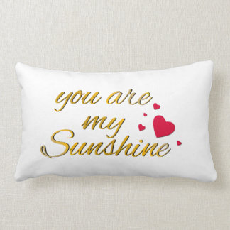 You Are My Sunshine Song Gold Hearts Typography Pillow