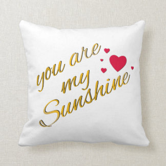 You Are My Sunshine Song Lyrics Gold Hearts Trendy Throw Pillow