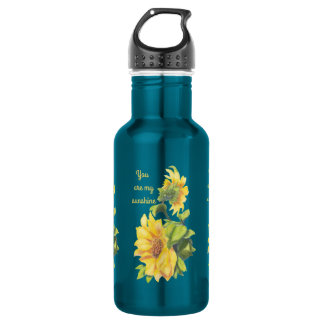 You are my Sunshine Sunflower floral Quote Water Bottle
