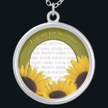 """You are my Sunshine Sunflower Necklace<br><div class=""""desc"""">Place your sunshine&#39;s photo in the center of this necklace surrounded by sunflowers... text reads,  You are my Sunshine)</div>"""