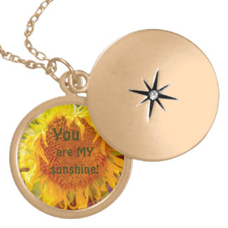 """'YOU ARE MY SUNSHINE"" SUNFLOWER (PHOTOG) GOLD PLATED NECKLACE"