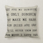 "YOU ARE MY SUNSHINE | Throw Pillow<br><div class=""desc"">Adorable song and pretty burlap background for a fresh rustic feel.</div>"