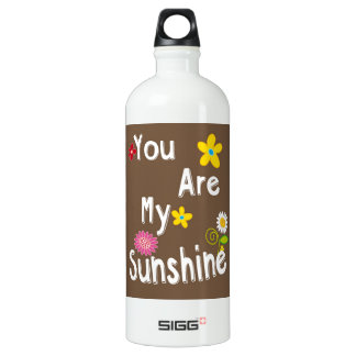 """You are my Sunshine"" Typography - Brown Aluminum Water Bottle"