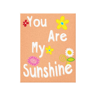 """You are my sunshine"" Typography - Orange Canvas Print"