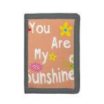"""You are my sunshine"" Typography - Orange Tri-fold Wallet"
