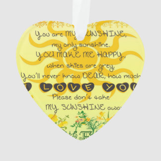 You are My Sunshine with Flowers in Yellow Ornament