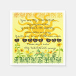 You are My Sunshine with Flowers in Yellow Paper Napkin