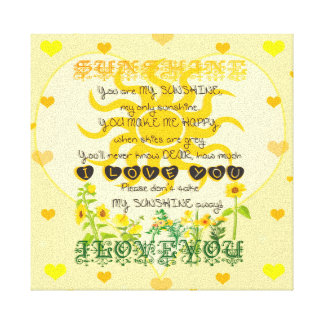 You are My Sunshine with Hearts Canvas Print
