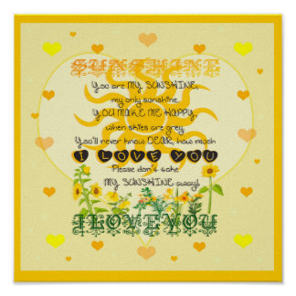 You are My Sunshine with Hearts Posters