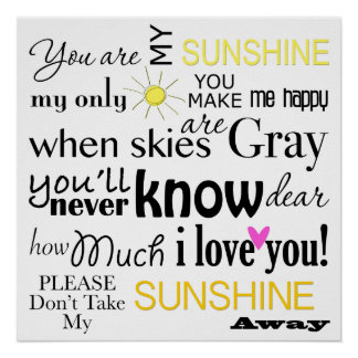 You are my Sunshine Word Art Poster