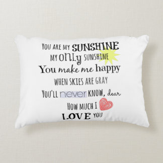 You are my Sunshine Word Art Typography Accent Pillow