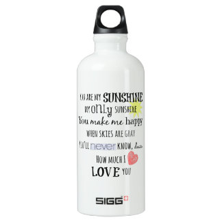 You are my Sunshine Word Art Typography Aluminum Water Bottle