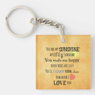You are my Sunshine Word Art Typography Double-Sided Square Acrylic Keychain
