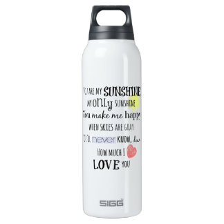 You are my Sunshine Word Art Typography Insulated Water Bottle