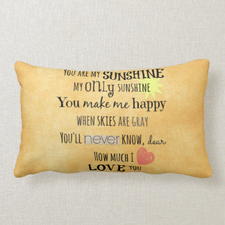 You are my Sunshine Word Art Typography Lumbar Pillow