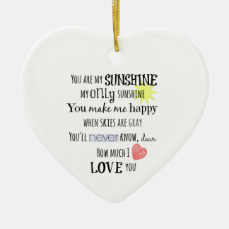 You are my Sunshine Word Art Typography Double-Sided Heart Ceramic Christmas Ornament