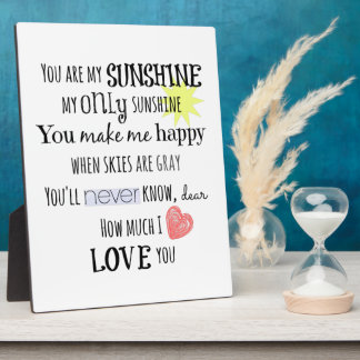 You are my Sunshine Word Art Typography Plaque