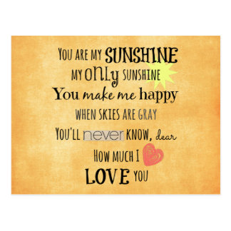 You are my Sunshine Word Art Typography Post Card