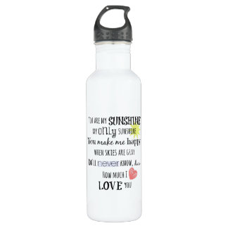 You are my Sunshine Word Art Typography Stainless Steel Water Bottle