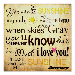 You Are My Sunshine Word Art Vintage Background Poster at Zazzle