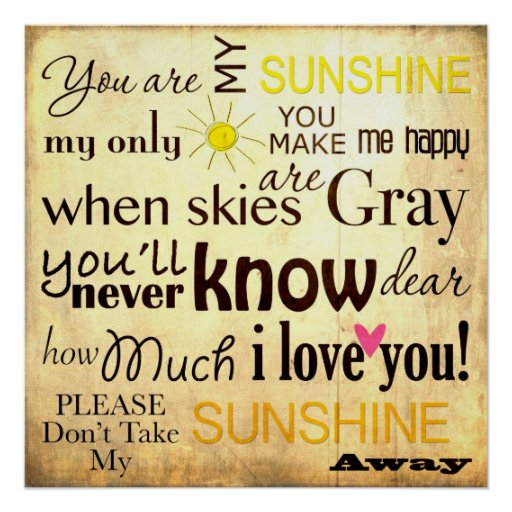 You are my Sunshine Word Art Vintage Background Poster ...