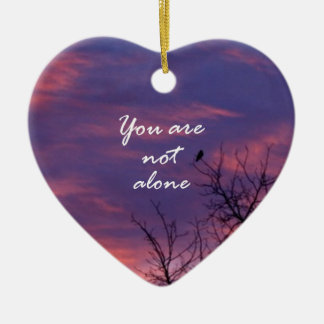 You Are Not Alone Double-Sided Heart Ceramic Christmas Ornament