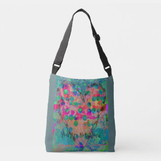 You Are Not Alone Safety Pin Heart Design Crossbody Bag