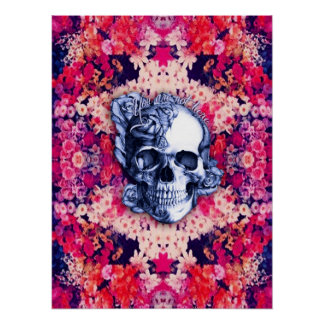 You are not here colorful floral skull poster