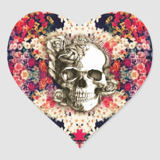You are not here Day of the Dead floral art Heart Sticker