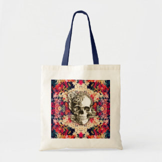 You are not here floral day of the dead skull canvas bags