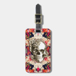 You are not here floral day of the dead skull travel bag tag