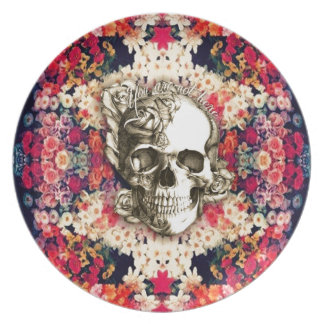 You are not here floral day of the dead skull melamine plate