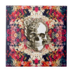 You are not here floral day of the dead skull ceramic tile
